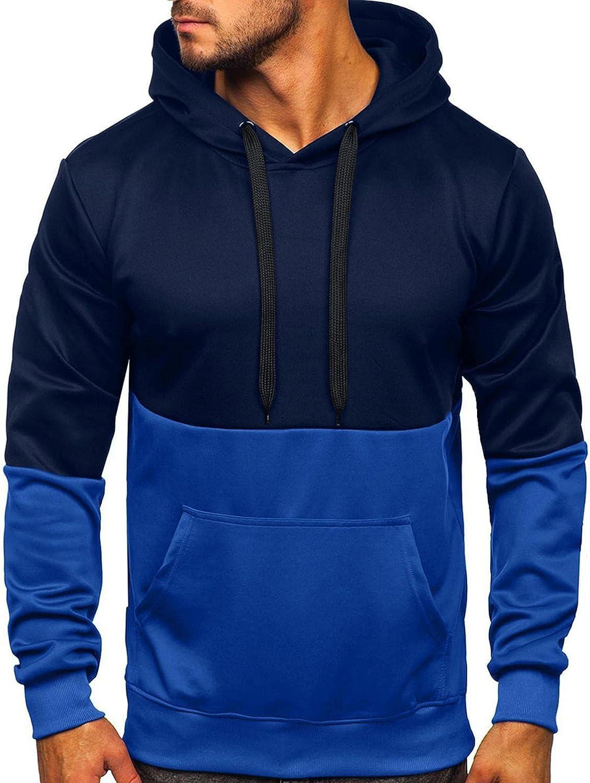 Aayomet Hoodies for Men Fashion Pullover Color Splice Shirts Patchwork Blend Fleece Kanga Pocket Mens Hoodies