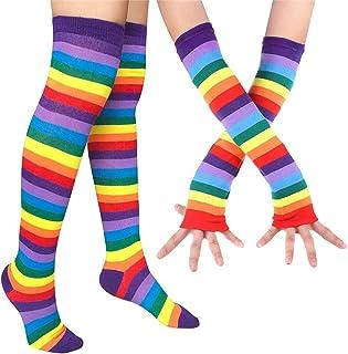 Mujeres Raya Del Arco Iris Rodilla Muslo Calcetines Altos Knit Brazo Calentador Guantes sin Dedos Traje de Fiesta Accesorio