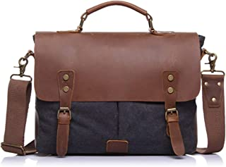 Mens Bag Color: Brown Simple Retro Zip Canvas Briefcase Shoulder Bag Messenger Bag High capacity