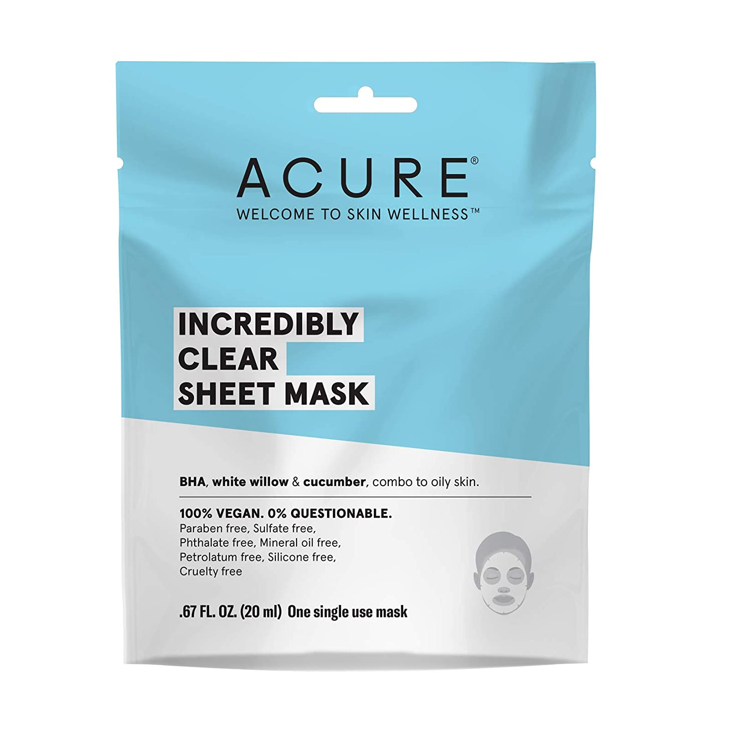 ACURE Incredibly Clear Sheet Mask, 5 Count (Packaging May Vary)