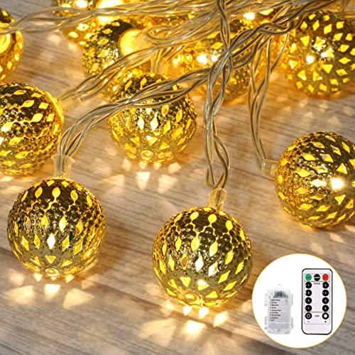 ZLDM Marokkanische LED Lichterkette Strombetrieben mit 50 Marokkanischen Silber Kugeln, 7M Batteriefach, Kugeln Orientalisch, Lichterketten für zimmer, Hochzeit, Herbst Deko [Energieklasse A+]
