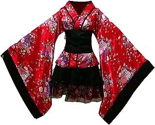 LUOEM Traje de criada tradicional japonesa Kimono Cosplay Outfit Maid Costume Dress Size S (Red)