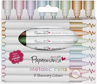 Metallic Pens by docrafts Papermaina, Pack of 8 High Quality Shimmery Coloured Bullet Tip Pens, Dries With a Metallic Fini...