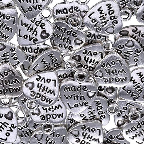 Colgantes de corazón, 50 corazones de escultura para accesorios hechos a mano de joyería