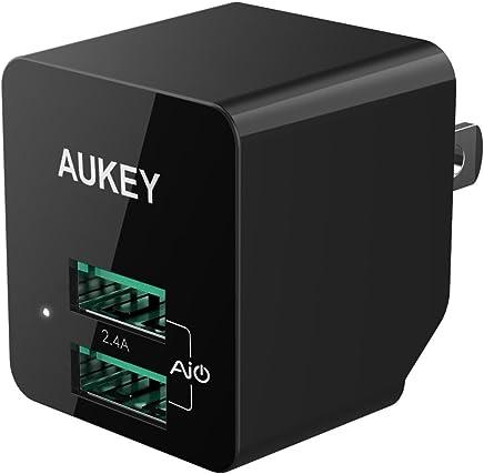 AUKEY PA-U32 cargador de pared USB, ULTRA COMPACTO puerto dual 2.4A y enchufe plegable para iPhone 8 iPad Samsung y otros