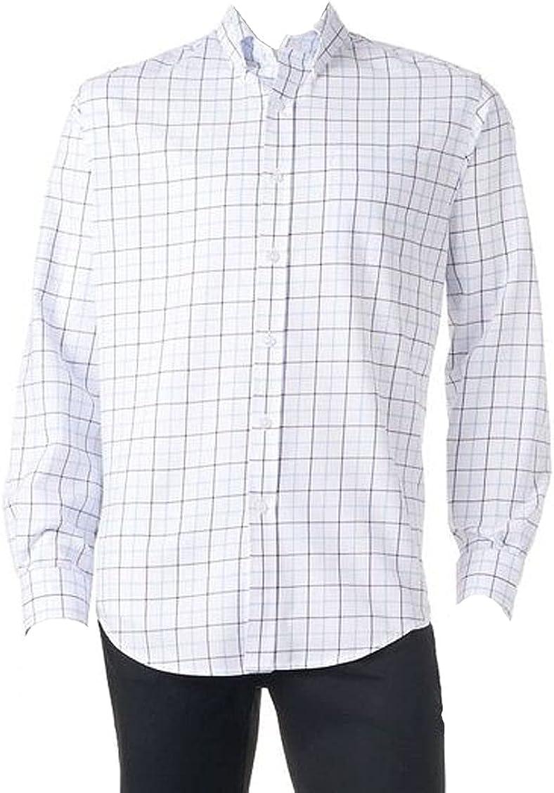 Croft & Barrow Mens Classic Fit Easy Care Dress Shirt White Plaid