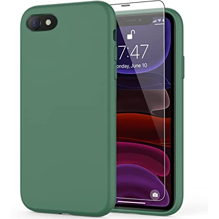 DEENAKIN iPhone SE 2020 Case,iPhone 7 Case,iPhone 8 Case with Screen Protector,Soft Liquid Silicone Gel Rubber Bumper Cover,Slim Fit Shockproof Protective Phone Case for iPhone 7/8/SE 2020 Dark Green
