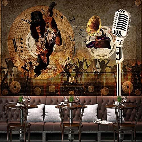 3D vliesbehang foto vlies premium fotobehang barachtergrond behang wandschilderij Retro Muziek 3D 350*245cm #004.