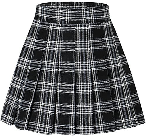 Junior Teen Girls Womens School Uniform Cosplay Costume Plaid Pleated Short Skirt, Black White Plaid with Stripe, US M