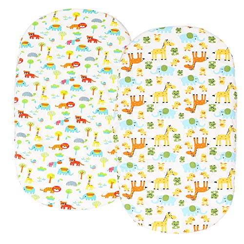Waterproof Bassinet Sheet,No Need for Bassinet Mattress Pad Cover, Set 2 Pack 100% Jersey Cotton 190GSM Thickest Ultra Soft and Stretchy for Baby Girl Boy Cute Elephant,Lion,Tiger,Giraffe by Knlpruhk