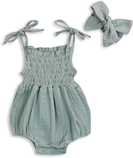 KCSLLCA Baby Girls Sleeveless Romper Set Sling Backless Jumpsuit Outfits with Headband