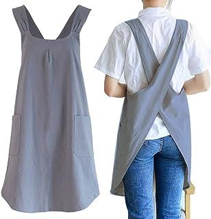 پیش بند آشپزخانه پارچه پارچه ای متقاطع ژاپنی مخصوص زنان دارای جیب زیبا برای پخت نقاشی باغبانی تمیز کردن خاکستری