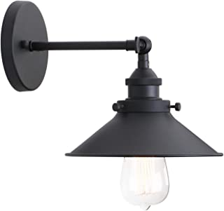 Permo Vintage Industrial Metal Wall Sconce Lighting 180 Degree Adjustable Wall Lamp (Black)