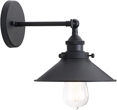 Permo Vintage Industrial Metal Wall Sconce Lighting 180 Degree Adjustable Wall Lamp (Black)