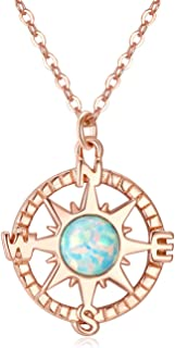 Compass Necklace with Created Opal, Friendship Compass Necklace for Women, I'd Be Lost Without You Necklace, Compass Jewelry, Opal Necklace, Silver Gold Rose Gold Necklace