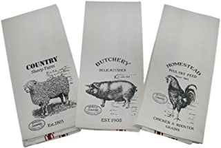 Zeckos Set of Three Farm Animals Tea Towels