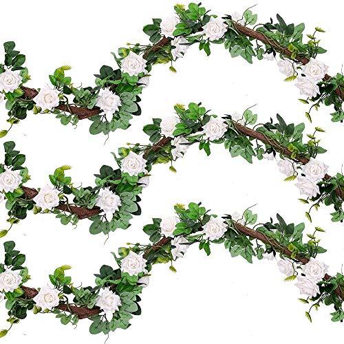 Raelf 3 flores artificiales de seda, hojas de liana falsas, rosas, hiedra, vides, para bodas, fiestas, jardines, paredes, decoraciones para el día de San Valentín, 1 unidad