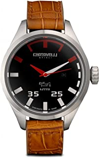 Chotovelli Men's Pilot Watch Automotive Alfa Dial Italian Croco Leather Strap 5400