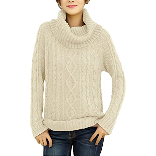 280e00b1bc v28 Women s Korean Design Turtle Cowl Neck Ribbed Cable Knit Long Sweater  Jumper