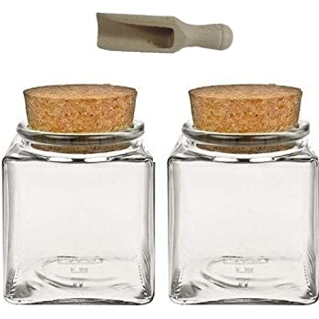 Clear Storage Glass Bottle Jar Wood Stopper For Tea Coffee Bean Candies UK Local