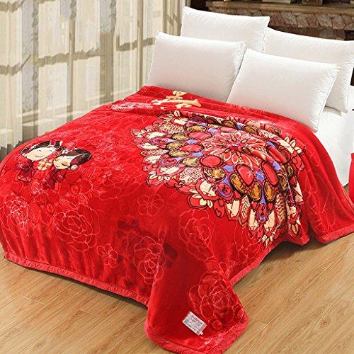 Couvertures Rouge Double Chaude Polyester Matériel De Chambre De Mariage Quatre Saisons Loisirs Doux Et Confortable Taille: 190 * 230cm