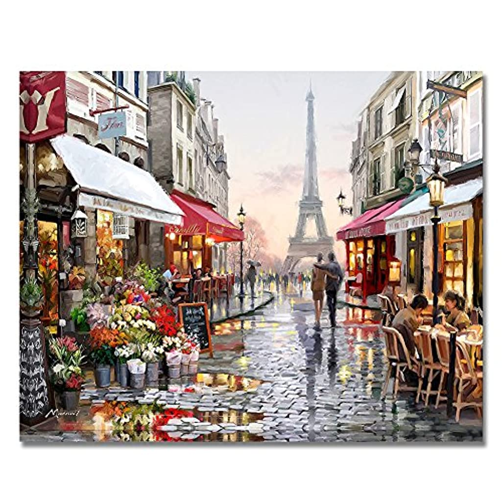 BOSHUN Paint by Numbers Kits with Brushes and Acrylic Pigment DIY Canvas Painting for Adults Beginner- Romantic Paris Street 16 x 20 inch(Without Frame)