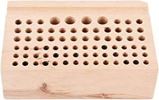 Wood Leathercraft Tool Rack Wooden Leather Craft Stamp Punch Tool Stand Holder Box Organizer 76 Holes 7.9 × 4.7 × 3.1 Inch