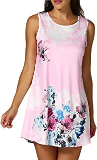 Loose Tops,Women's Casual Round Neck Asymmetrical Floral Print Sleeveless Tunic Tank Top