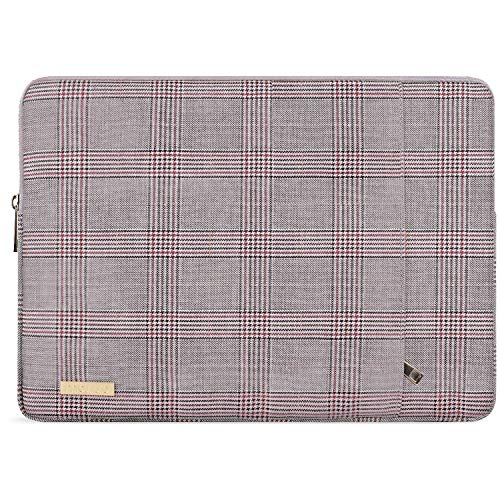 MOSISO Laptop Sleeve Compatible with 13-13.3 Inch MacBook Air/MacBook Pro Retina/2019 Suface Laptop 3/Surface Book 2, PU Leather Plaid Pattern Padded Bag Protective Case, Gray & Red