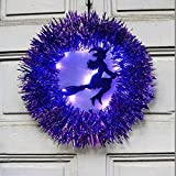 Corona de bruja iluminada para colgar, corona de bruja para decoraciones de Halloween de puerta principal, liquidación de decoraciones de Halloween, corona de bruja púrpura aterradora para porche
