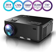 """$79 » Upgraded Projector, 70% Brighter, Mini Home Theater Movie Projector 4.0"""" LCD Up to 176-inch Display, Supports 1080P HDMI/USB/SD Card/AV/VGA TVs/Laptops/Games"""