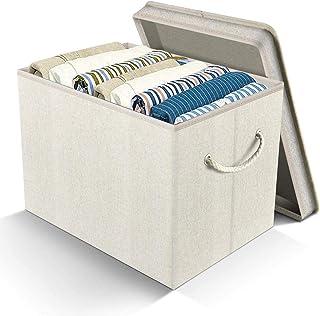 Boîte de rangement pliable en tissu de lin, panier de rangement avec poignée en corde de coton, boîte de rangement rectang...