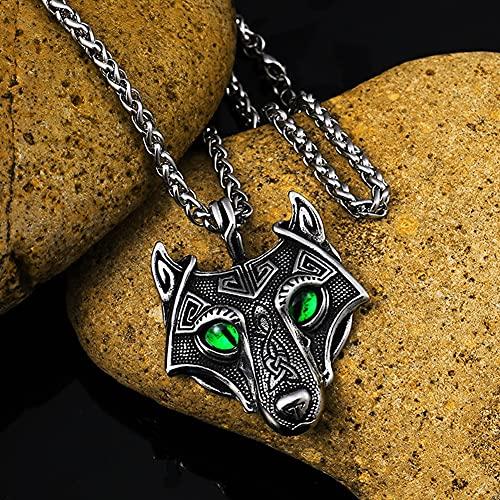Serired Collar Tótem Mascota Vikingo para Hombre, Collar con Colgante de Animal Mitológico Nórdico Acero Inoxidable, Joyas Celtas Vintage Personalizadas,Crow,50cm