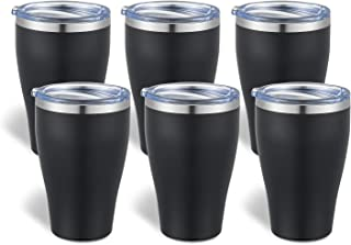 TUMZAK 12oz/6 Pack Stainless Steel Tumbler With Lid, Double Wall Vacuum Insulated Coffee Cup, Great Thermal Cup Keep Drink...