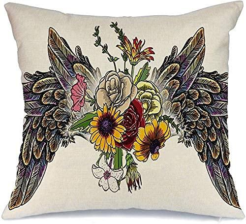 Throw Pillow Cover Funda de cojín, con Flores Rosas Angel Fun Bird Wings Vintage Signos Símbolos Espíritu San Valentín Parche Objetos Secretos Funda de Almohada