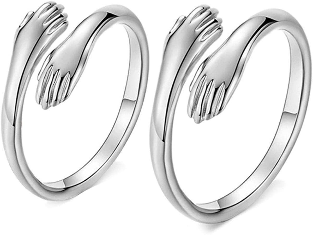 BODY16G CZCZ Max 55% OFF 925 Direct sale of manufacturer Sterling Silver Rings Open Ring Hands L Two Hug
