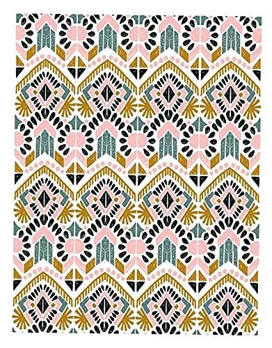JIAH Alfombra retro rosa con forma de triángulo, diseño nórdico, étnico, extra rge para interiores impresos, antideslizante, lavable, para decoración del hogar, dormitorio, sala de estar, 160 x 230 cm