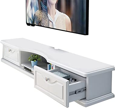 White TV Cabinet, Floating Wall-Mounted Set-top Box Storage Cabinet, Entertainment Center Console, Suitable for Living Room/H