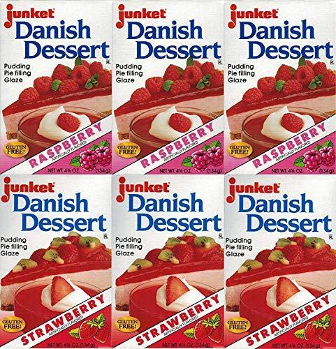 shipfree Junket Danish Dessert Mix Bundle Spring new work of Raspberry 3 and 6 Strawbe