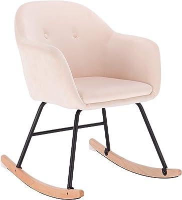 WOLTU SKS16cm Chaise à Bascule en Velours,Fauteuil Relax