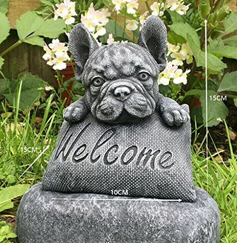 French Bulldog Welcome On A Plinth Home or Garden Decoration - Outdoor Lifelike Dog Statue Dog Decor for Home Garden Lawn Patio Backyard Outdoors Great Gift for Dog Lovers Kids Adults Birthday