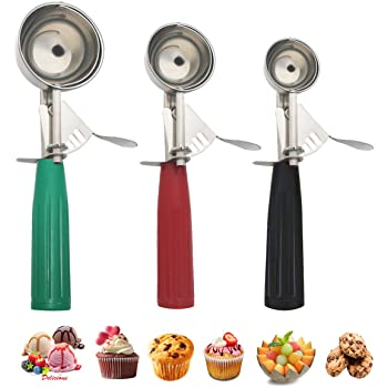 Cookie Scoop Set, Ice Cream Scoop Set, Multiple Size Large-Medium-Small Size Disher, Professional 18/8 Stainless Steel Cupcake Scoop