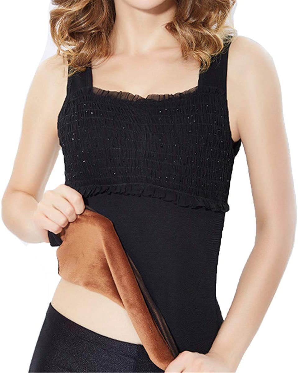Cozylkx Women Plus Size Thick Thermal Underwear Seamless Rhinestone Tank Top Fleece Lined Vest