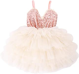Cilucu Girls Dress Toddler Kids Party Dress Sequin Tutu Pageant Lace Dresses Gown for Flower Girl Baby Rose Gold/Pink Peach