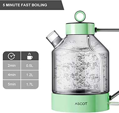 Electric Kettle, ASCOT Electric Tea Kettle 1.6L 1500W Glass Electric Kettle,Gold Stainless Steel, BPA-Free, Cordless, Automat