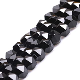 Black Agate Beads for Jewelry Making Natural Gemstone Semi Precious 10mm Faceted 15