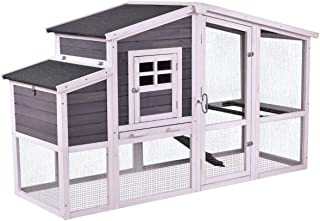 Tangkula Large Chicken Coop, Wooden Chicken Hen House Garden Backyard Poultry Cage with Outdoor Run and Nesting Box, Rabbit Hutch (75'')