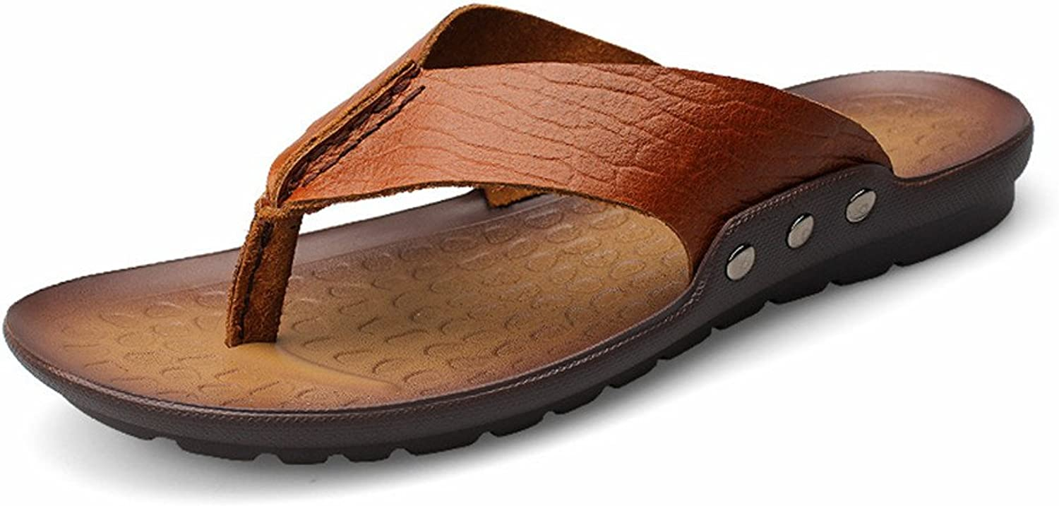 Sandals Men's Flip-flops Casual Style Leather Sandals and Outdoor shoes Sandals Soft Non-slip Beach shoes Sandals (color   Brown, Size   7 UK)