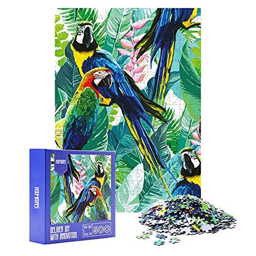 HXMARS Jigsaw Puzzles for Adults Kids Gioco di puzzle da 500 pezzi per famiglia-pappagallo, arte illustrata con animali Uccelli da giardino Cool e stimolante