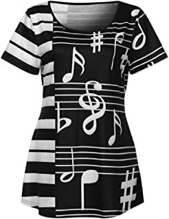 WM & MW Women Ladies Shirts Short Sleeve Musical Note Printed T-Shirt Casual Loose Tops Tunic Blouse